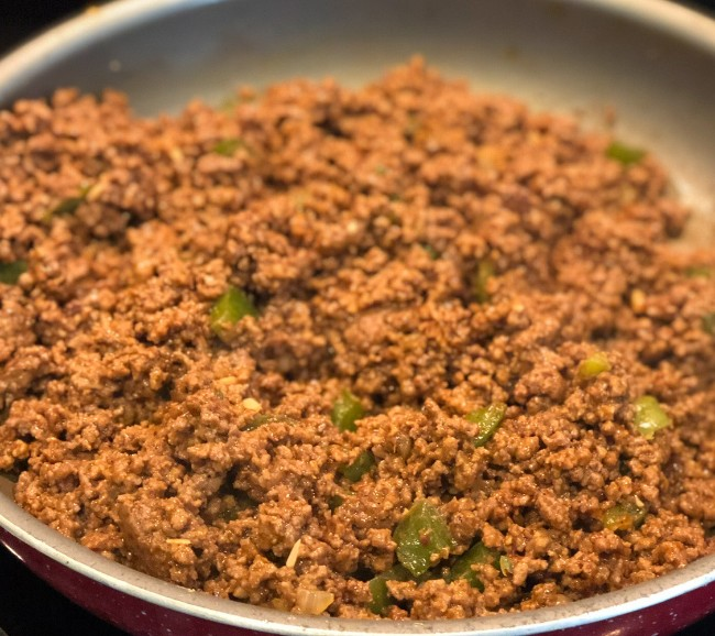 ground beef in skillet for keto taco casserole