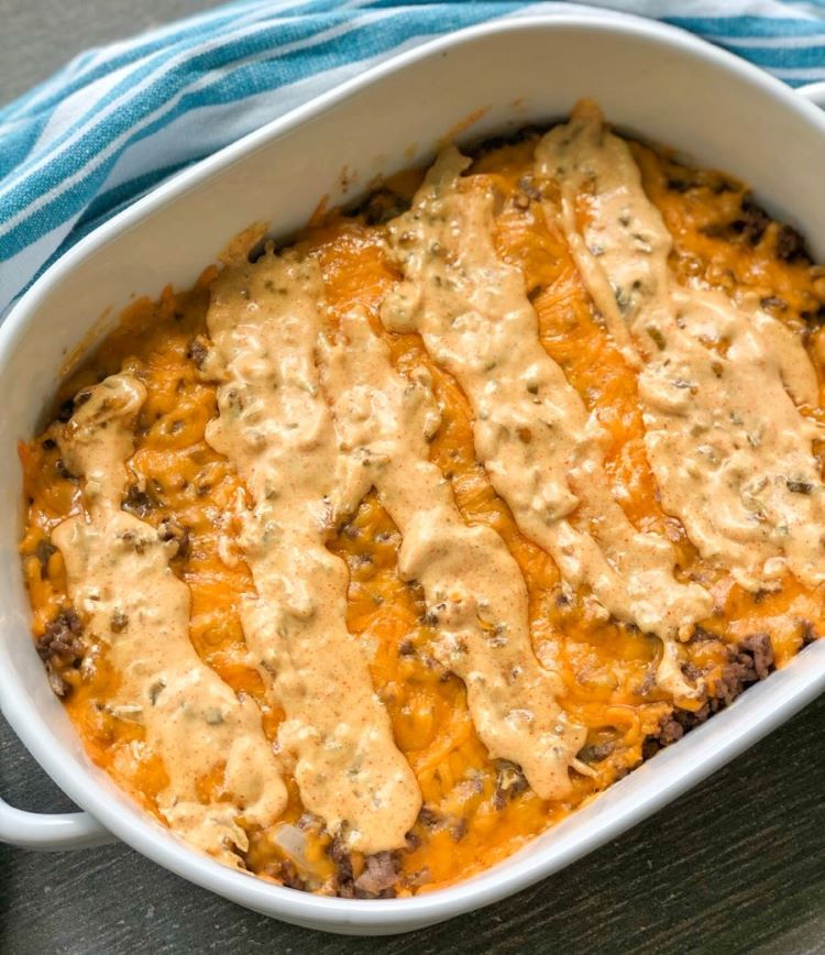 big mac casserole in white dish