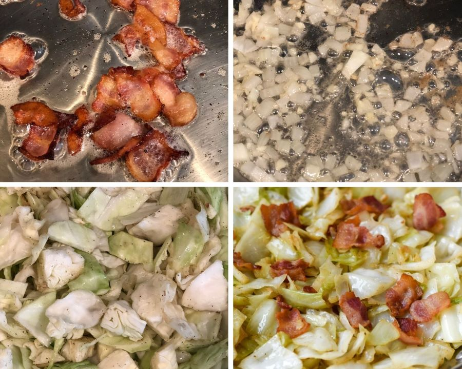 step by step fried cabbage instructions