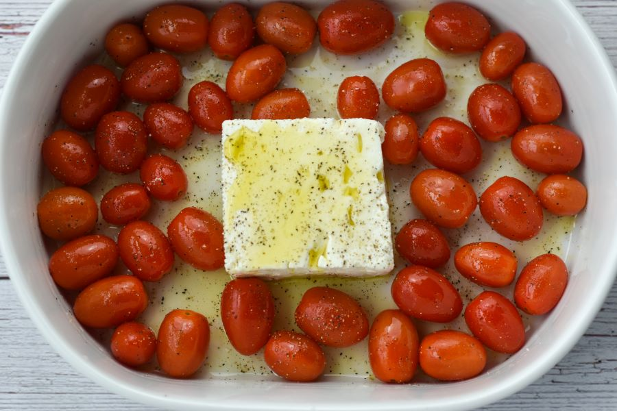 baked feta with tomatoes