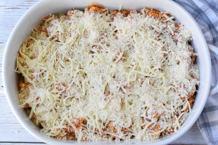 casserole dish of chicken parmesan casserole