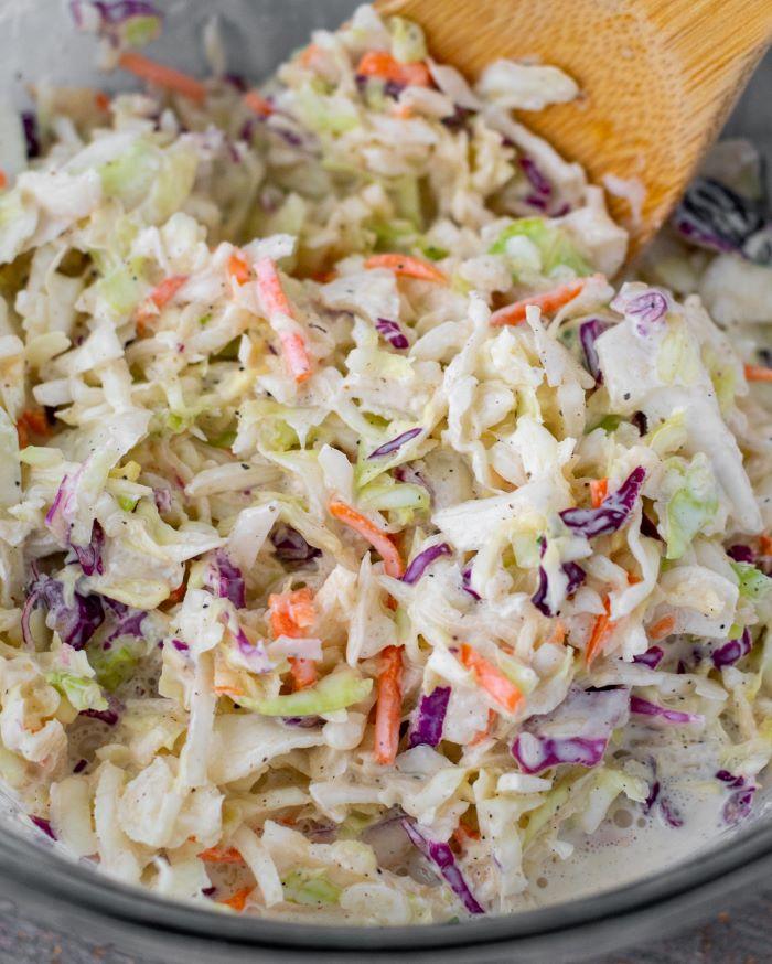 coleslaw in glass bowl